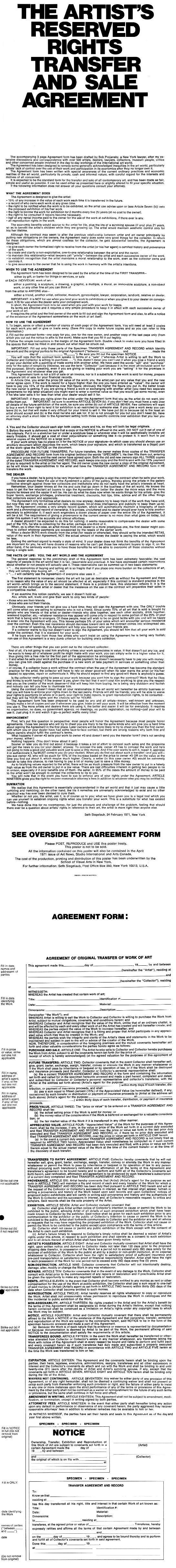 Standard Artist Agreement Form. ContractEN